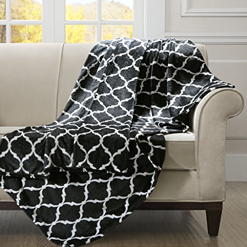 (Madison Park Ogee Luxury Oversized Throw Black 6070    Premium Soft Cozy Microlight For Bed, Coach or Sofa)