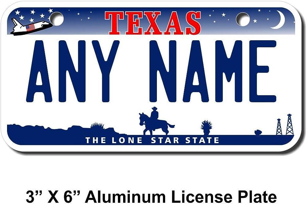 Sizes for Kids Bikes Trucks Cars Cart Key Rings Version 3 TEAMLOGO Personalized Texas License Plate