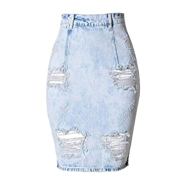 where to buy arrives preview of Back Split Women Jean Skirt Holes Ripped Jeans Skirts Womens ...