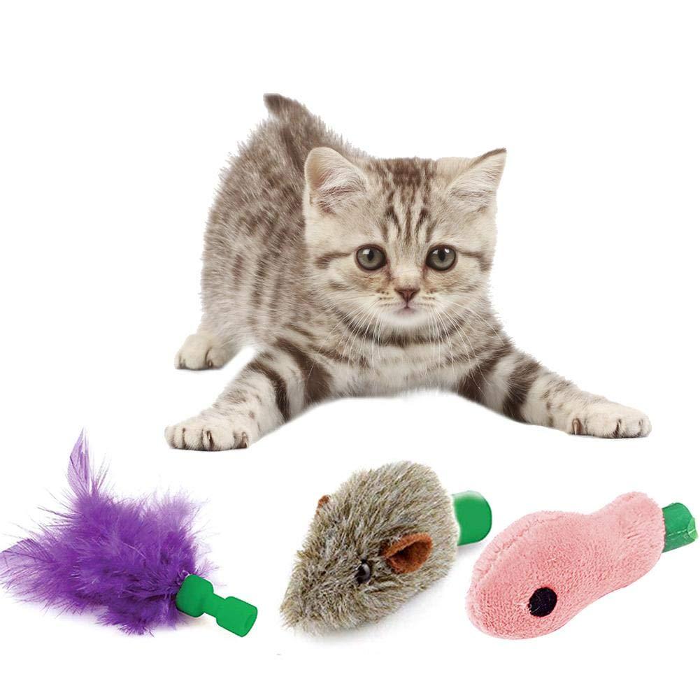 Rattle Furry Cat Mice Pet Toys Juguetes para Ratones y Gatos 3 Accesorios reemplazables para Juguetes Destinely Juguete de Entrenamiento para Gatos