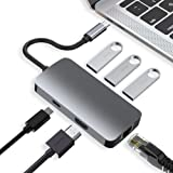 HARIBOL USB C Hub, MacBook Pro Adapter USB C Dongle, 6 in 1 USB C to HDMI Multiport Adapter with 1000M Ethernet, 4K USB C to HDMI, 3 USB 3.0 Ports, PD Charging Port for MacBook/Pro and Type C Devices