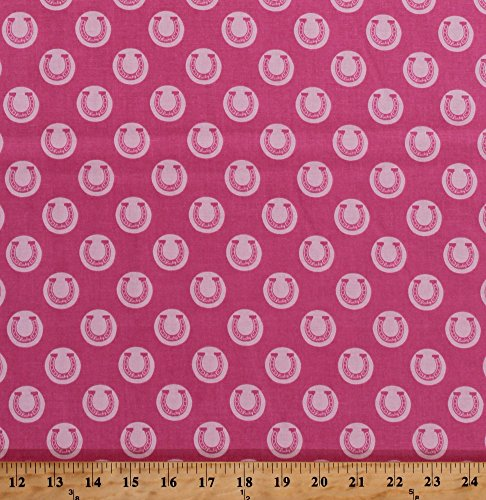 Cotton Riley Blake Derby Style Horseshoes Lucky Horse Cowgirl Pink Cotton Fabric Print by the Yard (c4421-pink)