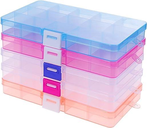 rovtop 5 pcs almacenamiento perlas caja organizadora compartimento cajas de almacenaje (cartón plástico extraíbles (15 compartimentos) para joyas herramientas maquillaje, píldoras de Usatges múltiples caja: Amazon.es: Hogar