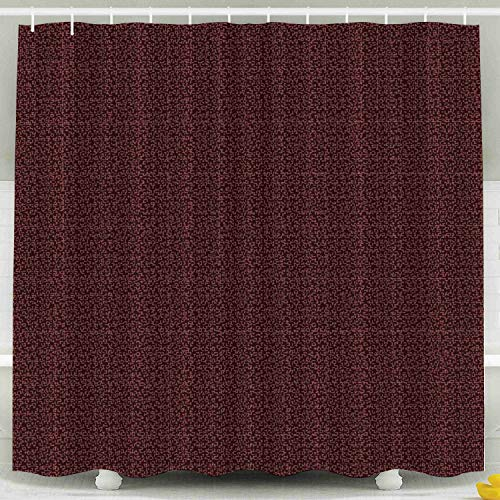 KIOAO Farmhouse Shower Curtain Liner Fabric,Rough Fabric Wool Fine Plaid Pattern Checked Textured Background in Red Burgundy 78X72Inch Waterproof Extra Long Shower Curtains