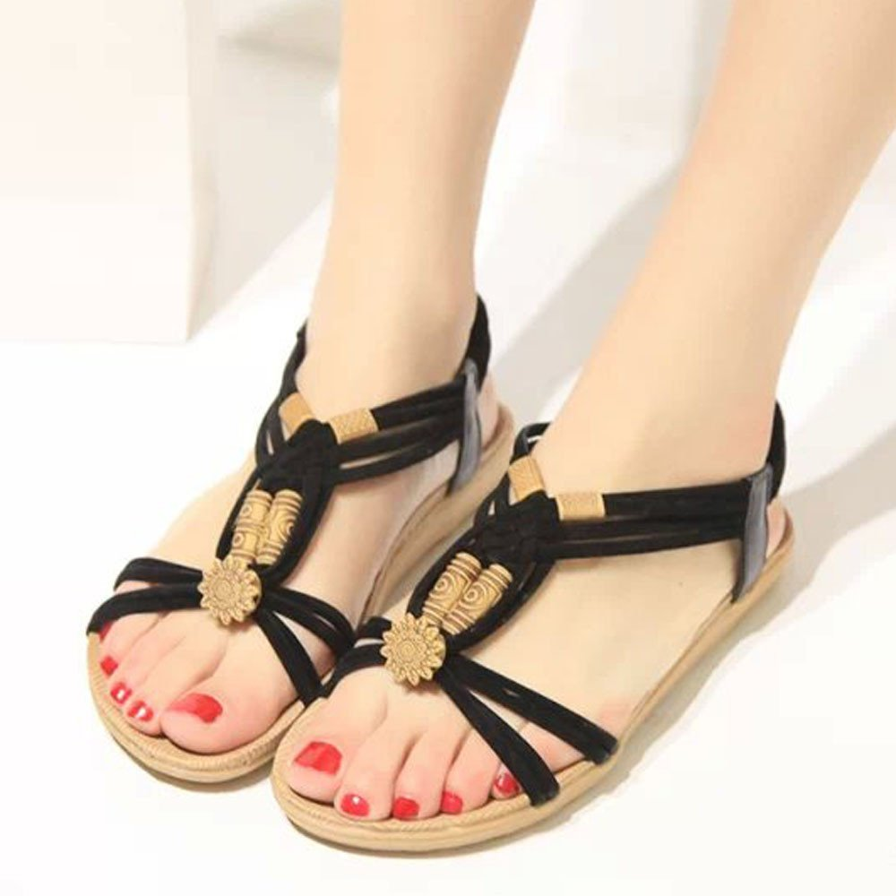 Lurryly Women Summer Fashion Bohemia Sweet Beaded Sandals Clip Toe Sandals Beach Shoes 2019Clearance