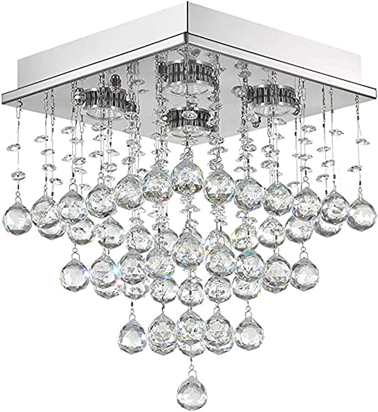 Mini Crystal Raindrop Chandelier Modern Flush Mount Ceiling Light