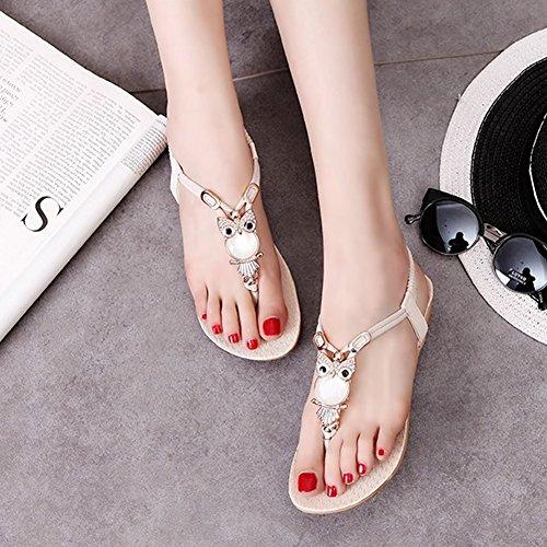 Beige fereshte Strap Dress Flip T Comfort Flat Sandals Womens Flop Sparkle Crystal fB1qf