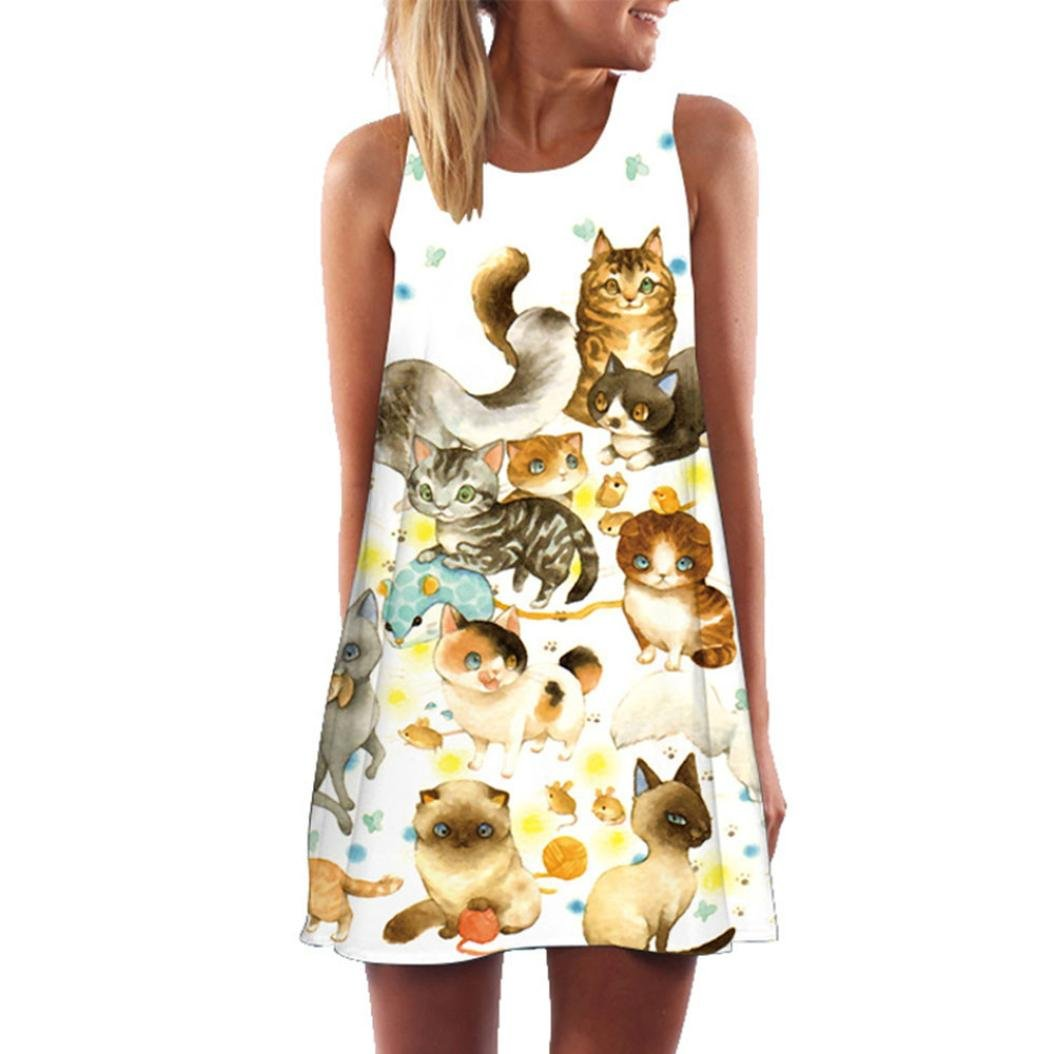 Keepwin Tank Minikleid Frauen locker Sommer /Ärmellosen Cartoon Cat gedruckt Kurze Sommerkleid