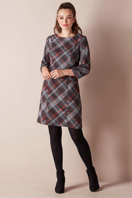 500 Vintage Style Dresses for Sale Roman Originals Women Check Shift Dress - Ladies Smart Checkered Print 3/4 Sleeve Knee Length Work Casual Tartan Comfortable Round Neck Tunic Dresses £35.00 AT vintagedancer.com