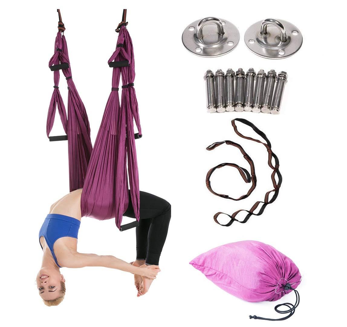 JIALFA Aerial Yoga Hängematten,Ultra Starke Antigravity Yoga Schaukel,Luft Trapez Kit - Inversionsübungen, Verbesserte Flexibilität & Kernfestigkeit - Montagezubehör Inklusive