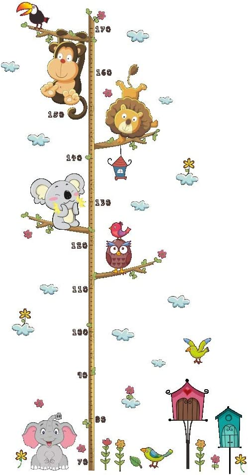 Animal Growth Height Chart Measure Printed Decal Mural Wall Sticker