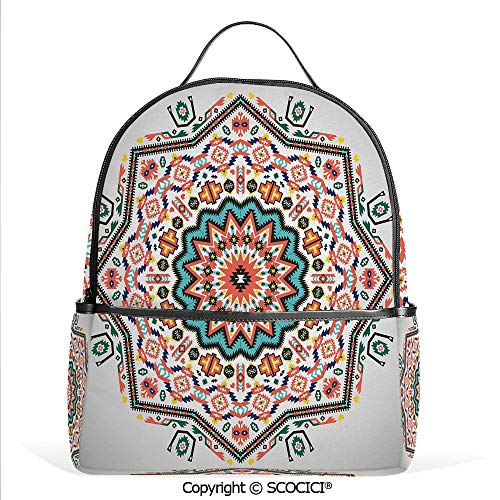 3D Printed Pattern Backpack Abstract Aztec Style Kaleidoscope Themed Boho Ethnic Sun Pattern Art Print Decorative,Coral Turquoise,Adorable Funny Personalized Graphics ()