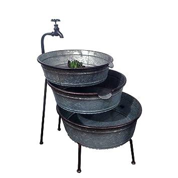 VIP Home U0026 Garden 3 Tier Galvanized Metal Stacked Tubs Garden Fountain With  Faucet Design U0026