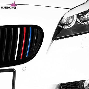 Tiras adhesivas para los riñones para todos los modelos de BMW - COLORES LISOS - Set de 24 pegatinas para automóvil , set de 4 colores (azul oscuro, rojo, blanco, azul claro):