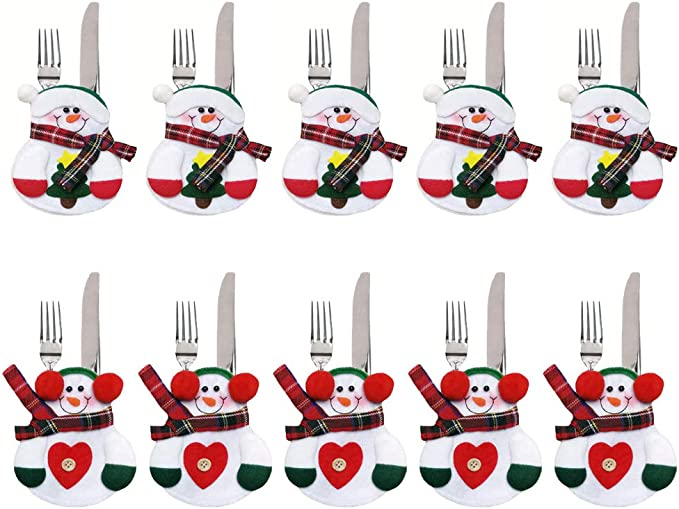 kungfu Mall 10PCS Traje de Cubiertos de Navidad Cena Cubiertos de ...