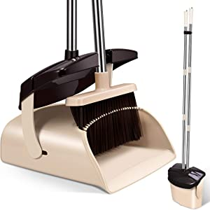 Mosuch Broom and Dustpan Set Extendable Long Handle Brooms Upright Standing Dustpans Lightweight Stainless Self-Clean Soft Broom Combo for Home Indoor Kitchen Lobby Office Living Room