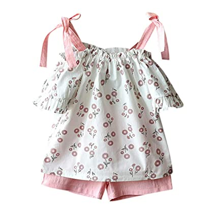 aeaedc13c01e59 Infant Baby Girl Cold Shoulder Set - Toddler Kids Ruffle Bow Flower Print  Tank Tops +