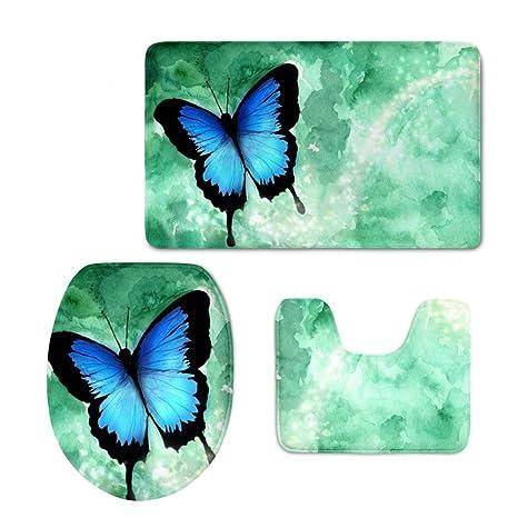 3 Piece Bath Mat Set Contour Rug Anti-slip WC Toilet Lid Cover Blue Butterfly