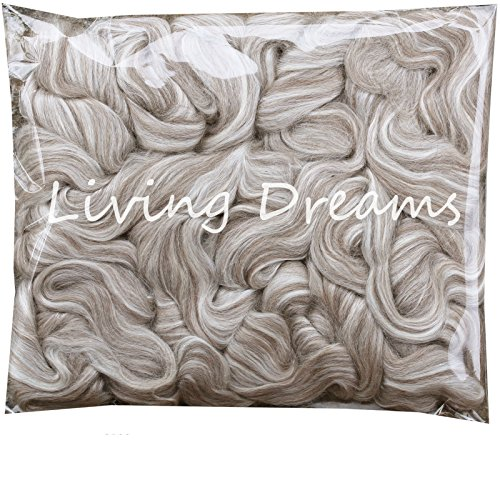 Spinning Alpaca Fiber - Baby Alpaca Silk Fiber Blend. Luxuriously Soft Combed Top Wool Roving for Spinning, Felting, Blending and Other Fiber Crafts. Natural Gray