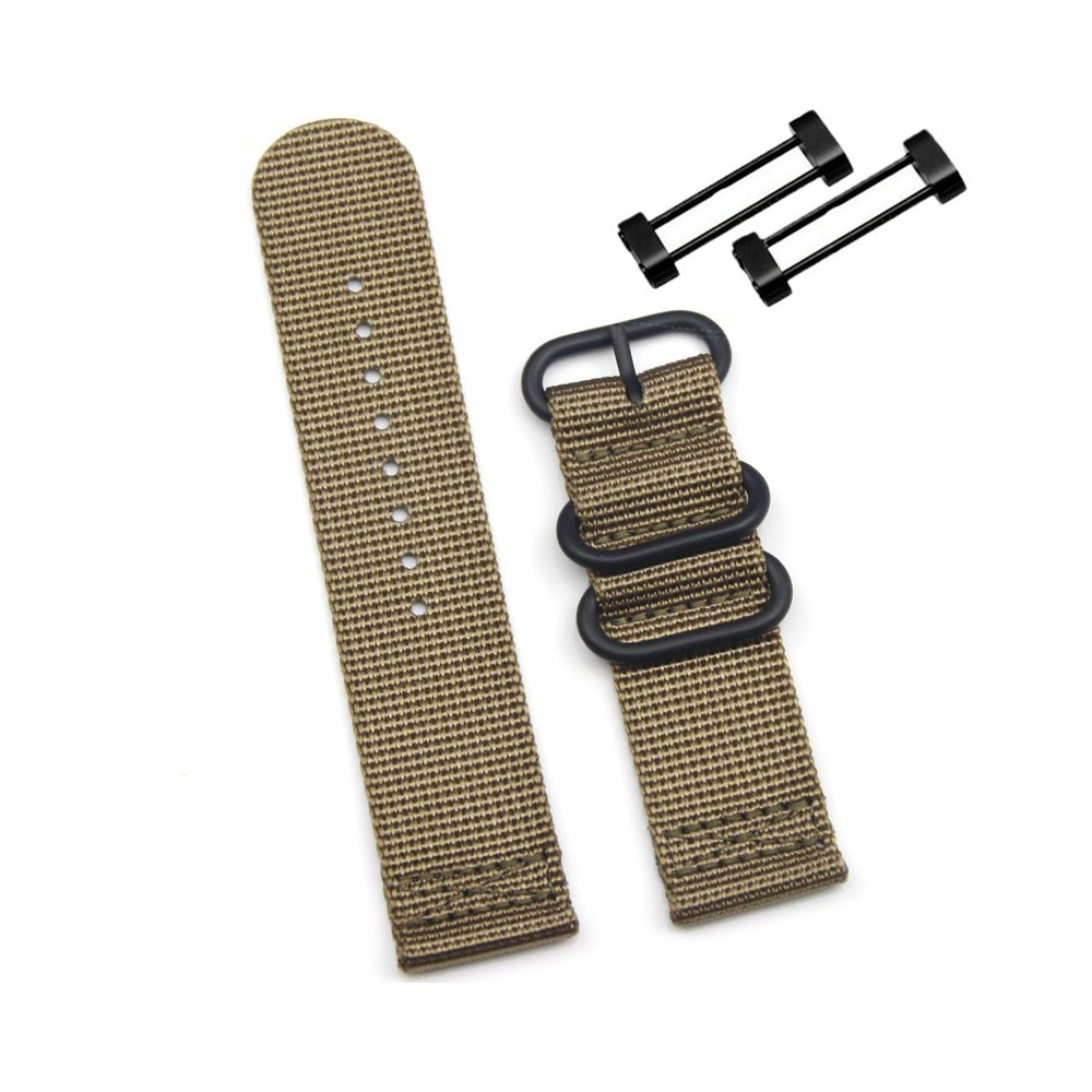 Digit.Tail Sport Military Nylon Replacement Universal NATO Watch Strap Bands Accessory with Lugs and Screw Tools for Suunto Core, Suunto Essential Smart Watch(Khaki)