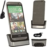 TECHGEAR HTC One M9 Desktop Charging Stand Cradle & Data Transfer Sync Dock in SILVER, With OTG Function Built in + USB Data Transfer/Charge Cable [HTC One M9, 2015 Edition]