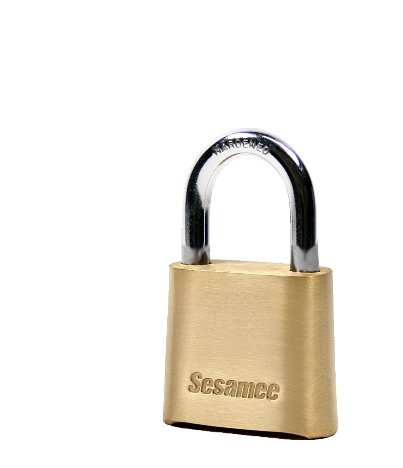 4bb46814f540 Sesamee K436 4 Dial Bottom Resettable Combination Brass Padlock with 1-Inch  Hardened Steel Shackle and 10,000 Potential Combinations