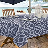 Casual Living by Newbridge Sydney Indoor Outdoor Polyester Table Linens, 60-Inch by 84-Inch Oblong (Rectangle) with Umbrella Hole and Zipper Tablecloth, Blue