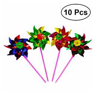 Toymytoy 10PCS plastica Windmill Pinwheel Wind spinner Kids Toy Garden Lawn party Decor