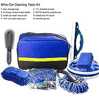 8Pcs Car Cleaning Tools Kit, Car Wash Tools Kit for Detailing Interiors Premium Fiber Cleaning Cloth - Wheel & Rim Brush…