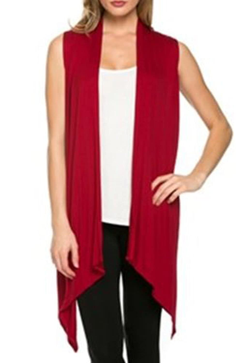 Women Solid Sleeveless Knit Open Front Asymmetric Cardigan Sweaters CANZ627