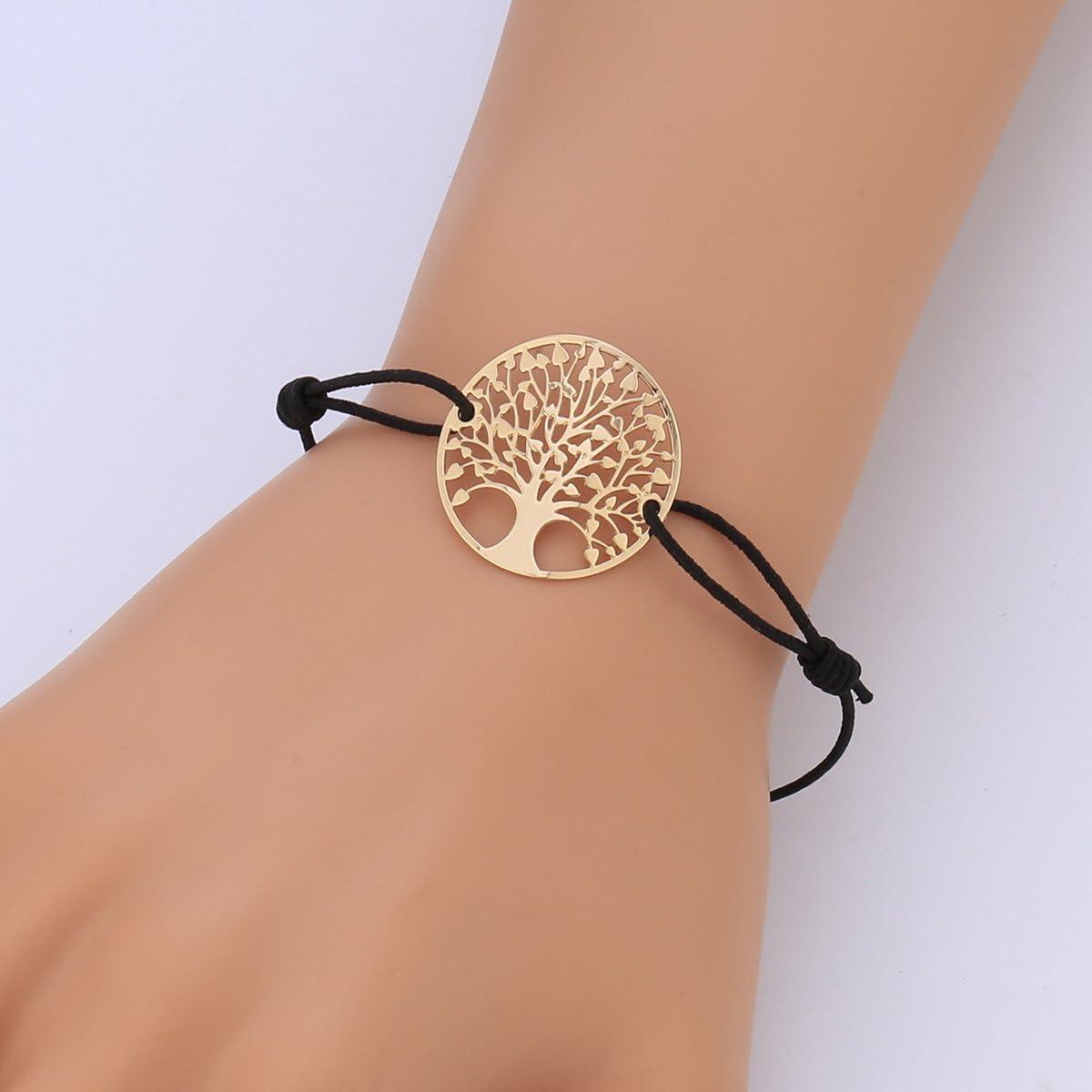 Bracelet Arbre de Vie pour Femme Bracelet Strand Charm Bracelet Manchette Amiti/é Bracelet Or Argent Fille