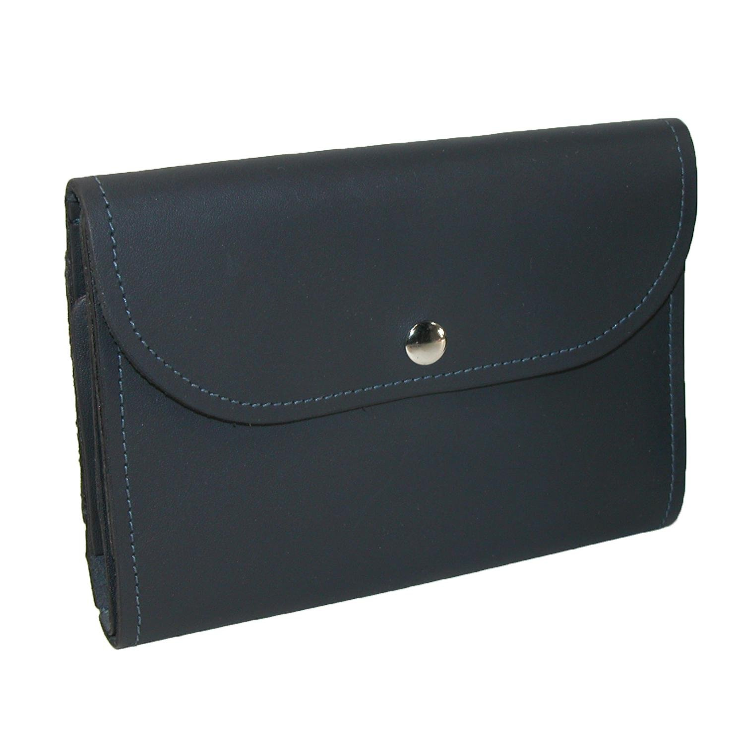 CTM Leather Deluxe Top Stub Checkbook Wallet, Navy