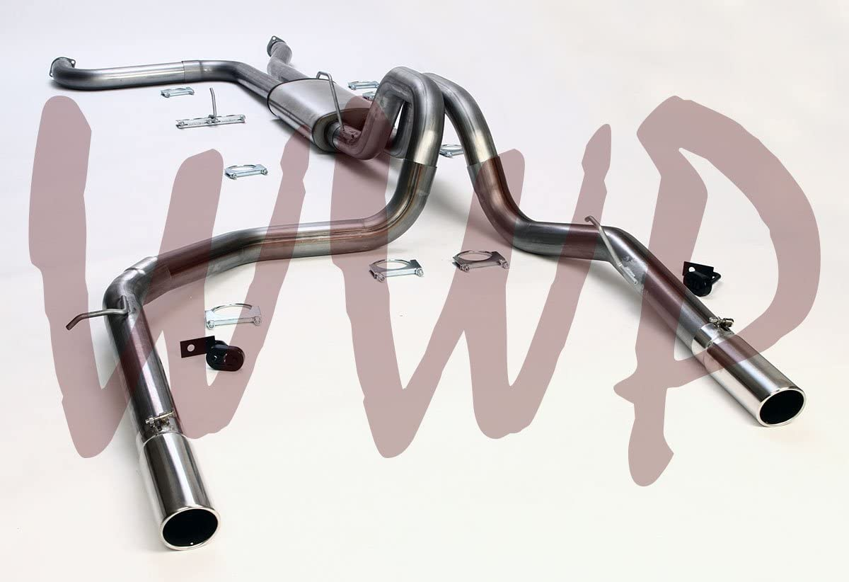 Performance Stainless Steel Dual 3.50 Cat Back Exhaust Muffler System Kit With Polished Tips For 2004-2014 Nissan Titan 5.6L V8 Gas Pickup Truck