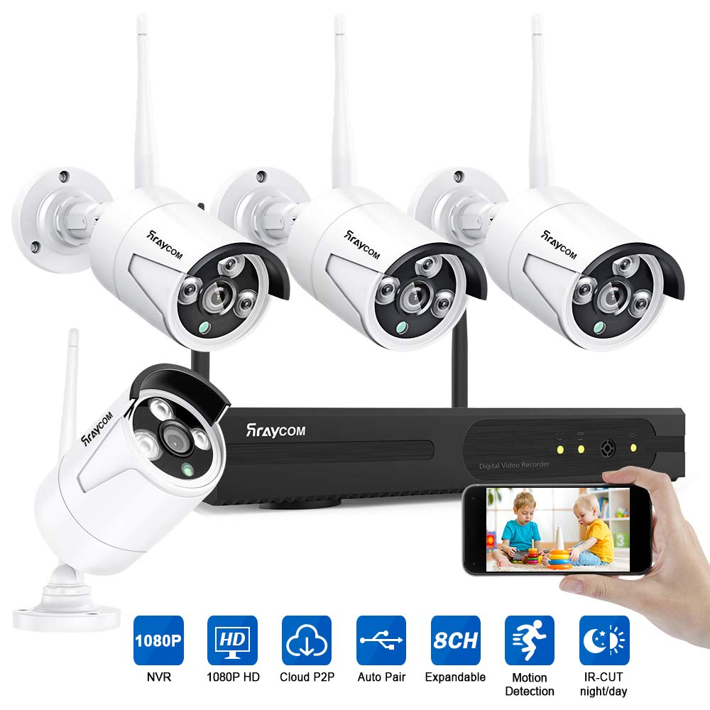 Rraycom Security Camera System Wireless,8CH 1080P NVR with 4Pcs 1080P 2.0MP Outdoor Indoor WiFi Surveillance IP66 Weatherproof IP Cameras,65ft Night Vision, App Remote View, P2P,Plug Play,No HDD