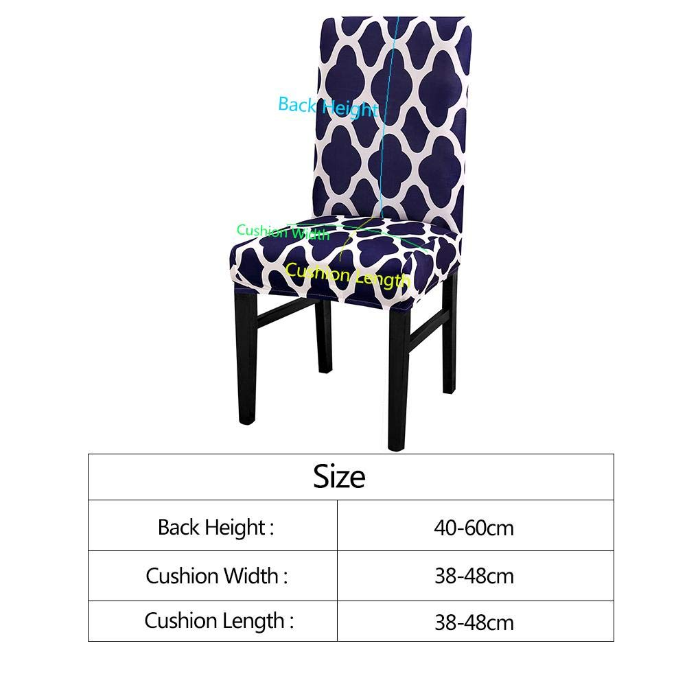 Prosperveil 4PCS Geometric Flower Chair Covers Removable Stretch Spandex Fabric Chair Slipcovers Seat Covers Protector for Dining Room Wedding Party Hotel Home Decor Camel