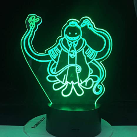 3d Night Lights Led Japanese Horror Movie Anime Korosensei Figure Kid Night Light For Bedroom Decor
