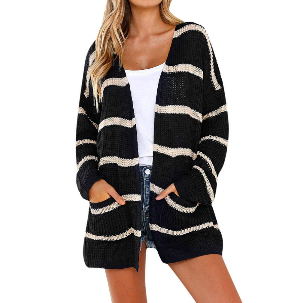 KFSO Women Long Sleeve Striped Front Open Cardigans Blouse Shawl Jumper Sweaters with Pocket Tops (Black, XL)