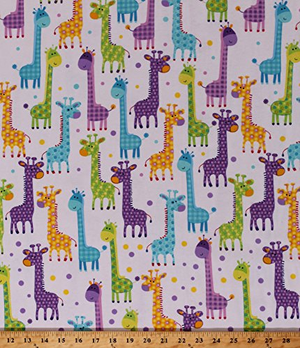 - Flannel Giraffes Giraffe Animals Kids Childrens Safari Wildlife Nature Long Necks Nursery Baby Babies Flannel Fabric by The Yard (108-3601)