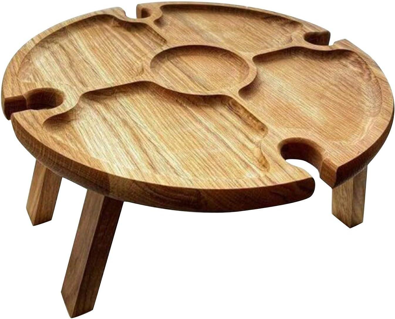 Mesa de picnic plegable de madera para exteriores, mini mesa portátil para exteriores, mesa de picnic creativa 2 en 1, mesa de vino para comida al aire libre para jardín, viajes, mesa de playa