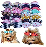 Yagopet 20pcs/pack Mix Colors Dog Hair Clips Pearls Centre Pet Dog Grooming Bows Supplies Pet Hair Clips Teddy Exquisite Rabbit Ears Dog Hair Accessories Free Shipping