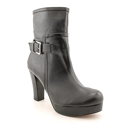 Womens Harlie Black Leather ankle platform boot 10 M US