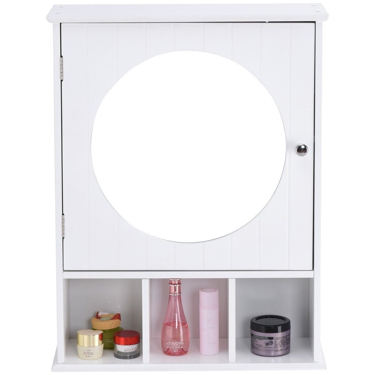 Moon_Daughter Bathroom Wall Mount Storage Cabinet Wood Shelf Organizer Over Sink w/Round Mirror