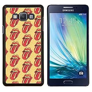 Rodando Banda de Música Labios amarillas Lengua- Metal de aluminio y de plástico duro Caja del teléfono - Negro - Samsung Galaxy A7 / SM-A700
