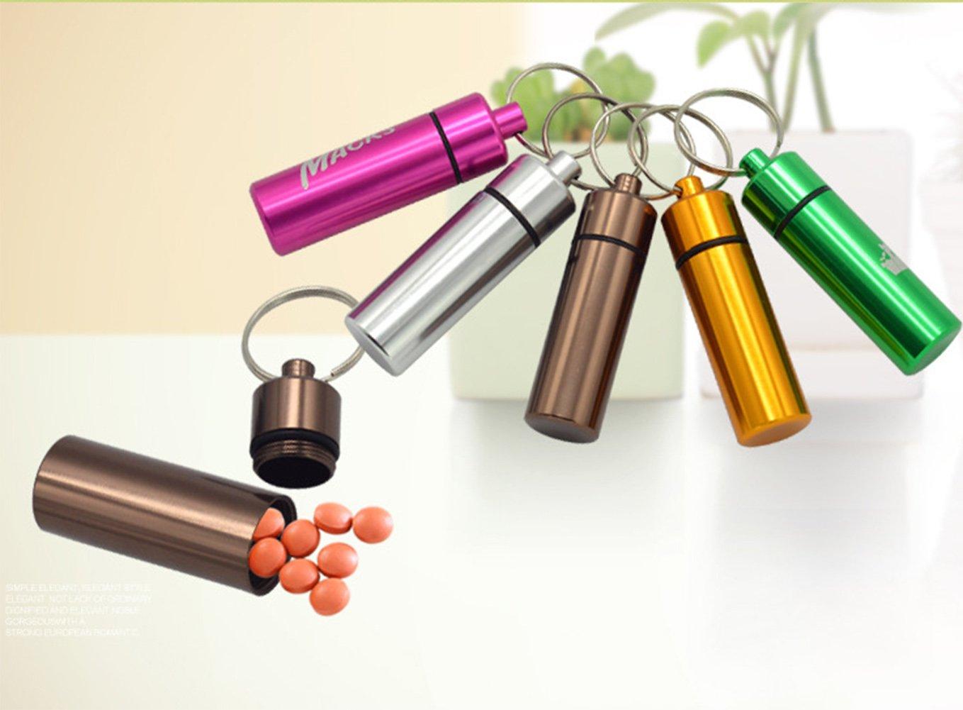 Yunko 6 Pcs Waterproof Aluminum Pill Bottle Organizer Box Case Drug Holder Keychain Container Travel Medicine Storage Color Random by YunKo (Image #6)