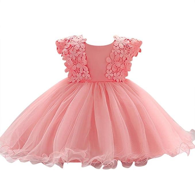 Xiantime Neugeborenes Kleidung Baby Mädchen Prinzessin Kleid Blumenmädchenkleid Taufkleid Festlich Kleid Hochzeit Partykleid