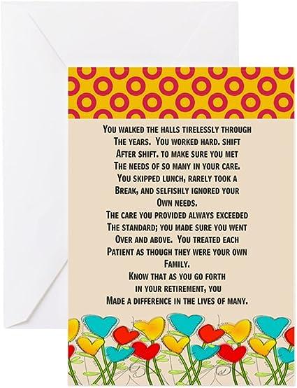 Cafepress Cartes De Vœux Pour Infirmiere A La Retraite Carte De Vœux Carte D Anniversaire Interieur Brillant Amazon Fr Fournitures De Bureau