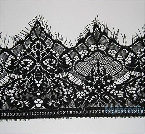 Trim Scalloped Black (5 Yards Black Lace Trim Scalloped Venise Floral Eyelash Edge 19cm Good Crafted DIY Ideas (Black))