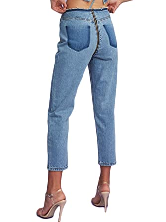 0ba9f9cba5e2 D Jill Women s Relax Fit Straight Leg Jeans High Waist Ripped Denim Crop  Pants Light Blue