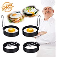 4 Pack ARTISTORE Egg Ring, Round Egg Pancake Maker Mold, Stainless Steel Non Stick Metal Circle Shaper Mold, Household Kitchen Cooking Tool for Frying McMuffin or Shaping Eggs, Egg Maker Molds