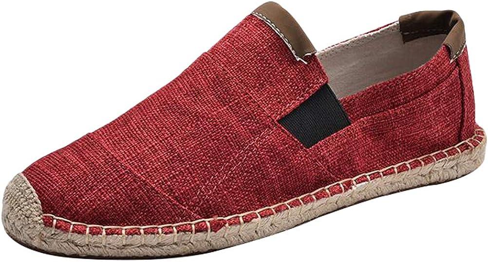 Mallimoda Homme Espadrilles en Toile Vintage Slip-on Simple Confort Chaussures Plates Casual